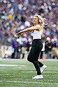 SEATTLE, WA - SEPTEMBER 14: Washington Cheer member Paige Rebstock entertained fans during the college football game between the Washington Huskies and the Hawaii Rainbow Warriors on September 14, 2019 at Husky Stadium in Seattle, WA.