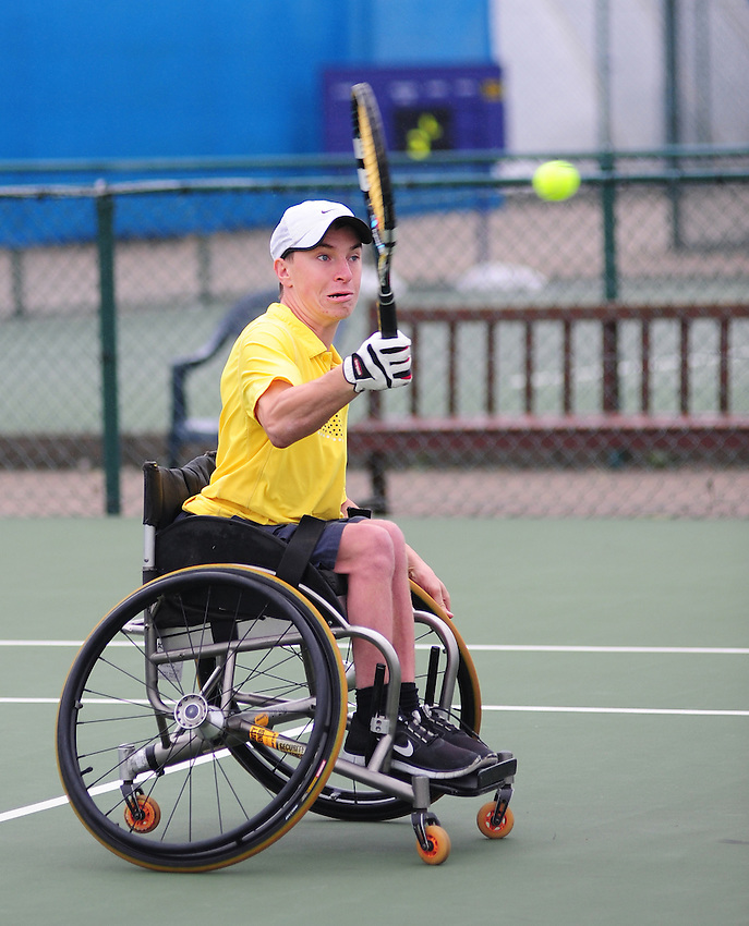Henry De Cure (AUS) [3] in action against Satoshi Saida (JPN) [1] in the Men's Singles Consolation Final - Satoshi Saida (JPN) [1] def Henry De Cure (AUS) [3] 6-0 6-0<br /> <br /> Tennis - British Open Wheelchair Tennis Championships - Sunday 21st July 2012 - Nottingham Tennis Centre - Nottingham<br /> <br /> &copy; Tennis Foundation/James Jordan - The National Tennis Centre - 100 Priory Lane - Roehampton - London - SW15 5JQ - Tel 020 8487 7304 - info@tennisfoundation.org.uk
