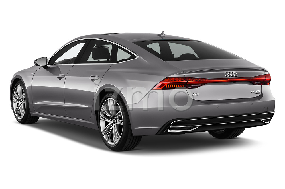 Car pictures of rear three quarter view of a 2018 Audi A7 Sportback S Line 5 Door Hatchback angular rear