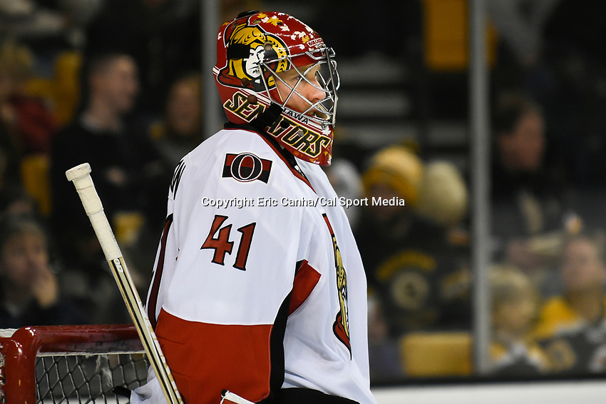 January 3, 2015 - Boston, Massachusetts, U.S. - Ottawa Senators goalie Craig Anderson (41) warms up before the NHL match between the Ottawa Senators and the Boston Bruins held at TD Garden in Boston Massachusetts. Eric Canha/CSM