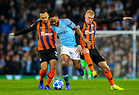 Manchester City's Raheem Sterling gets the better of Shakhtar Donetsk's Maycon and Viktor Kovalenko<br /> <br /> Photographer Alex Dodd/CameraSport<br /> <br /> UEFA Champions League Group F - Manchester City v Shakhtar Donetsk - Wednesday 7th November 2018 - City of Manchester Stadium - Manchester<br />  <br /> World Copyright &copy; 2018 CameraSport. All rights reserved. 43 Linden Ave. Countesthorpe. Leicester. England. LE8 5PG - Tel: +44 (0) 116 277 4147 - admin@camerasport.com - www.camerasport.com
