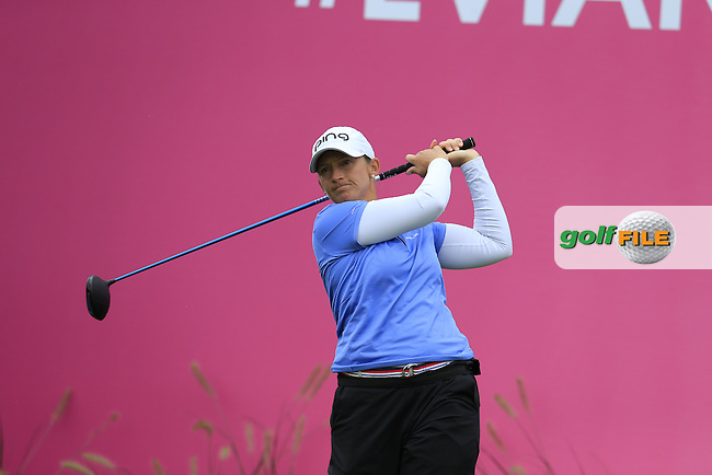 Angela Stanford (USA) tees off the 1st tee to start her match during Saturday's Round 3 of The 2016 Evian Championship held at Evian Resort Golf Club, Evian-les-Bains, France. 17th September 2016.<br /> Picture: Eoin Clarke | Golffile<br /> <br /> <br /> All photos usage must carry mandatory copyright credit (&copy; Golffile | Eoin Clarke)