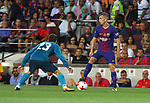 Deulofeu in action during Supercopa de España game 1 between FC Barcelona against Real Madrid at Camp Nou
