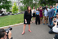White House spokesperson Sarah Sanders walks to speak to the media at the White House in Washington, DC, May 8, 2019. Photo Credit: Chris Kleponis/CNP/AdMedia