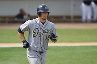 July 1, 2007: Eugene Emeralds' Kellen Kulbacki trots down to first base after working a base-on-balls against the Everett AquaSox during a Northwest League game at Everett Memorial Stadium in Everett, Washington.