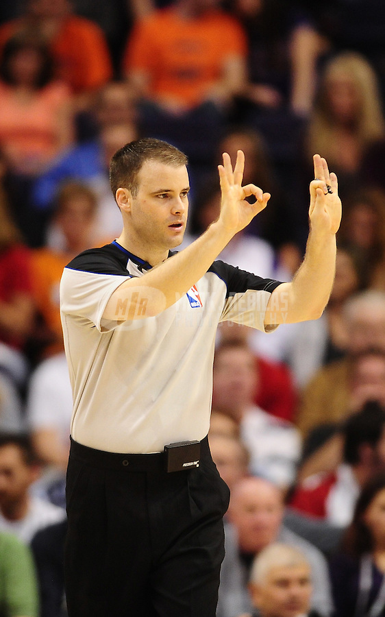 Dec. 3, 2010; Phoenix, AZ, USA; NBA referee Mark Lindsay during the game between the Indiana Pacers against the Phoenix Suns at the US Airways Center. Mandatory Credit: Mark J. Rebilas-