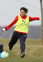 Homare Sawa during Washington Freedom  practice and media event at the Maryland Soccerplex on March 25 in Boyd's, Maryland.