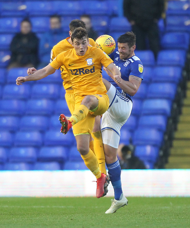 Preston North End's Ryan Ledson in action with Birmingham City's Lukas Jutkiewicz in action with Preston North End's Ryan Ledson<br /> <br /> Photographer Mick Walker/CameraSport<br /> <br /> The EFL Sky Bet Championship - Birmingham City v Preston North End - Saturday 1st December 2018 - St Andrew's - Birmingham<br /> <br /> World Copyright &copy; 2018 CameraSport. All rights reserved. 43 Linden Ave. Countesthorpe. Leicester. England. LE8 5PG - Tel: +44 (0) 116 277 4147 - admin@camerasport.com - www.camerasport.com