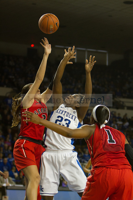 Junior C Samarie Walker (23) takes a layup during the UK Hoops vs Georgia Women's Basketball game in Lexington, Ky., on Sunday, February 3, 2013. Photo by Matt Burns | Staff