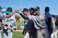 Salt River Rafters outfielder Victor Victor Mesa (10), of the Miami Marlins organization, celebrates with teammates after winning the Arizona Fall League Championship Game against the Surprise Saguaros on October 26, 2019 at Salt River Fields at Talking Stick in Scottsdale, Arizona. The Rafters defeated the Saguaros 5-1. (Zachary Lucy/Four Seam Images)