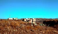 Paolo Soleri: ARCOSANTI, Cordes Junction, AZ. Seen from parking lot. Photo '76.