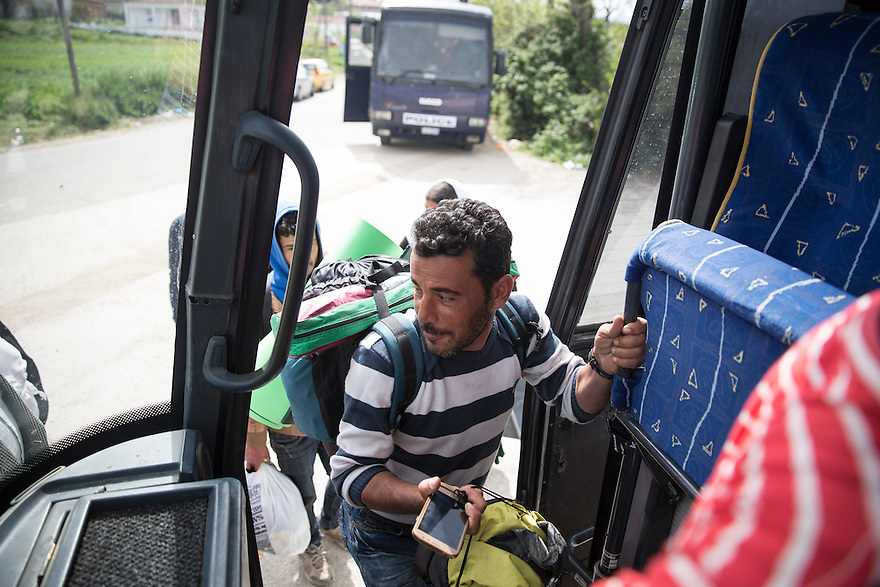 Yassir Bashar, 35, is a Yazidi from Shengal, Iraq boarding a bus from Idomeni camp to Petra, a camp exclusively for Yazidis. When ISIS swept through his village, they captured his wife Khaida and killed one of his two sons, along with two of Yassir's brothers. After a year in captivity, his younger son,  Sezar, 5, was released and brought to Germany with his sister and her husband. Yassir arrived in Greece last month to find the border closed. He has heard only once from his wife, who is imprisoned in Raqqa, Syria. She wrote him a letter that was carried to him by a hostage released by ISIS. He is trying desperately to reunite with his son and sister in Germany.