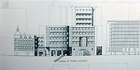 London: No. 1 Poultry, Scheme A, Poultry Elevation. James Stirling, Michael Wilford Assoc.   Reference only.