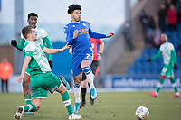 Courtney Senior of Colchester United lays the ball off before the challenge from Scott Wootton of Plymouth Argyle during Colchester United vs Plymouth Argyle, Sky Bet EFL League 2 Football at the JobServe Community Stadium on 8th February 2020