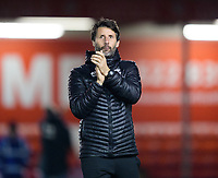 Lincoln City manager Danny Cowley applauds the fans at the final whistle<br /> <br /> Photographer Chris Vaughan/CameraSport<br /> <br /> The EFL Checkatrade Trophy Northern Group H - Lincoln City v Wolverhampton Wanderers U21 - Tuesday 6th November 2018 - Sincil Bank - Lincoln<br />  <br /> World Copyright © 2018 CameraSport. All rights reserved. 43 Linden Ave. Countesthorpe. Leicester. England. LE8 5PG - Tel: +44 (0) 116 277 4147 - admin@camerasport.com - www.camerasport.com