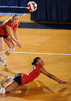 20 November 2008:  Arkansas State outside hitter Mandy DeWalt (10) dives to save the ball during the Middle Tennessee 3-0 victory over Arkansas State in the first round of the Sun Belt Conference Championship tournament at FIU Stadium in Miami, Florida.