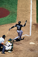 OAKLAND, CA - Frank Thomas of the Chicago White Sox bats during a game against the Oakland Athletics at the Oakland Coliseum in Oakland, California in 1994. Photo by Brad Mangin