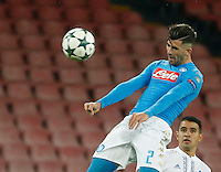 Elseid Hysaj during the Champions League Group  soccer match between SSC Napoli and   Dinamo Kiev  at the San Paolo  Stadium inNaples November 24, 2016