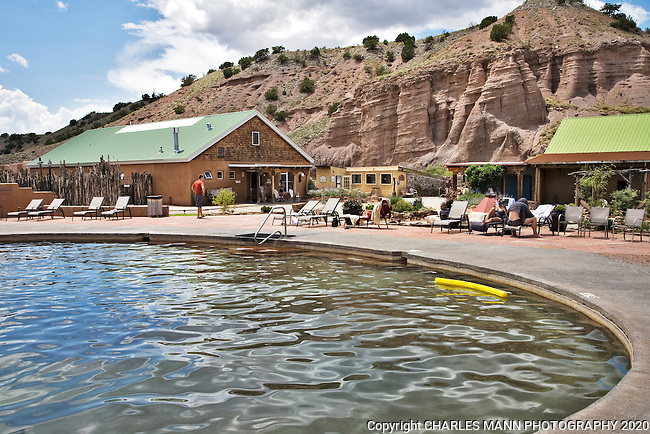 A large pool for general frolicking is only one of several springs and pools available for visitors at the Ojo Caliente Mineral Springs Resort and Spa near the village of Ojo Caliente, New Mexico