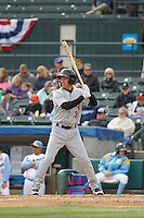 Frederick Keys infielder Anthony Caronia (3) at bat during a game against the Myrtle Beach Pelicans at Ticketreturn.com Field at Pelicans Ballpark on April 10, 2016 in Myrtle Beach, South Carolina. Myrtle Beach defeated Frederick 7-5. (Robert Gurganus/Four Seam Images)