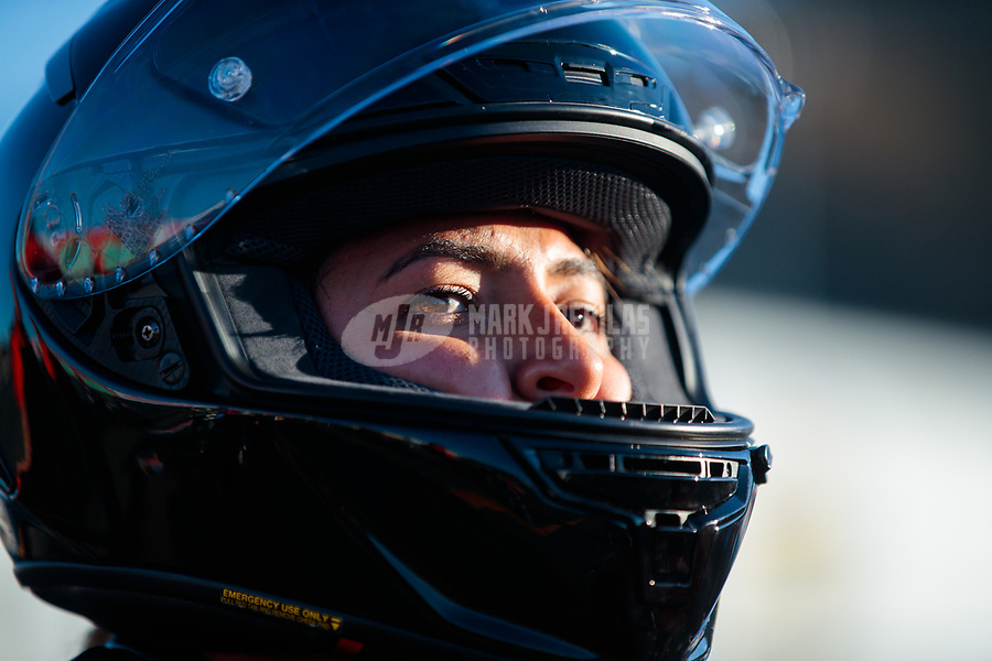 Jul 26, 2019; Sonoma, CA, USA; NHRA pro stock motorcycle rider Jianna Salinas during qualifying for the Sonoma Nationals at Sonoma Raceway. Mandatory Credit: Mark J. Rebilas-USA TODAY Sports