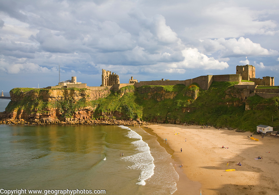 Priory and castle, King Edward's Bay, Tynemouth, Northumberland, England