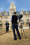 Filming outside the Meadow Building Christ Church, during the Sunday Times Oxford Literary Festival, UK, 2-10 April 2011. <br /> <br /> PHOTO COPYRIGHT GRAHAM HARRISON graham@grahamharrison.com<br /> +44 (0) 7974 357 117<br /> Moral rights asserted.