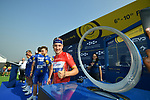 Red Jersey holder Elia Viviani (ITA) Quick-Step Floors with an eye on the winners trophy at sign on before the start of Stage 3 The Silicon Oasis Stage of the Dubai Tour 2018 the Dubai Tour&rsquo;s 5th edition, running 180km from Skydive Dubai to Fujairah, Dubai, United Arab Emirates. 7th February 2018.<br /> Picture: LaPresse/Massimo Paolone | Cyclefile<br /> <br /> <br /> All photos usage must carry mandatory copyright credit (&copy; Cyclefile | LaPresse/Massimo Paolone)