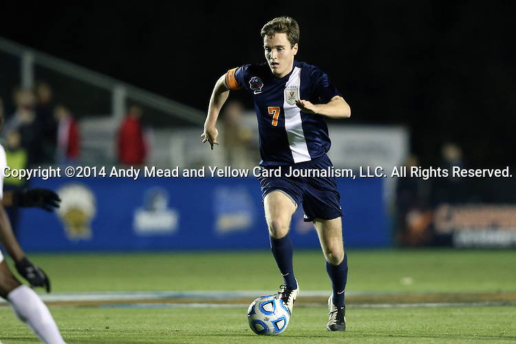 12 December 2014: Virginia's Todd Wharton. The University of Virginia Cavaliers played the University of Maryland Baltimore County Retrievers at WakeMed Stadium in Cary, North Carolina in a 2014 NCAA Division I Men's College Cup semifinal match. Virginia won the game 1-0.