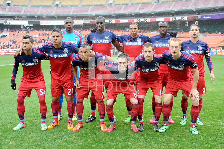Washington, D.C.- March 29, 2014. Chicago Fire Team Photo.  The Chicago Fire tied D.C. United 2-2 during a Major League Soccer Match for the 2014 season at RFK Stadium.
