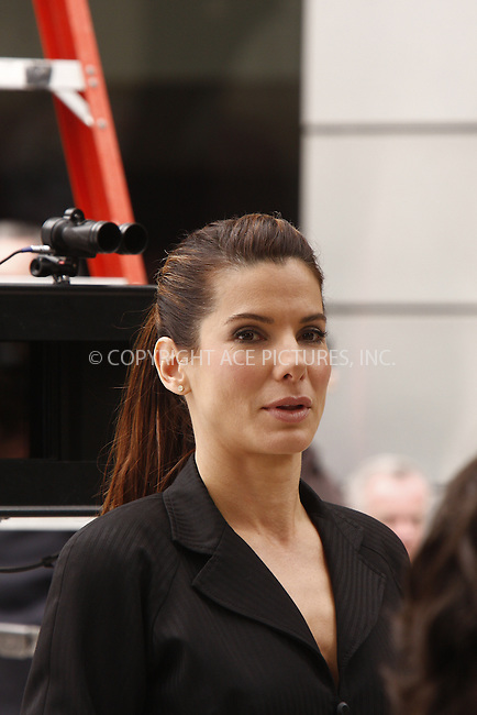 WWW.ACEPIXS.COM . . . . .  ....June 6, 2008. New York City.....Actress Sandra Bullock films a scene of the movie 'The Proposal' in New York City.....Sandra Bullock plays a pushy boss forces her her young assistant to marry her in order to keep her Visa status in the U.S. and avoid deportation to Canada.......Please byline: AJ Sokalner - ACEPIXS.COM.... *** ***..Ace Pictures, Inc:  ..Philip Vaughan (646) 769 0430..e-mail: info@acepixs.com..web: http://www.acepixs.com