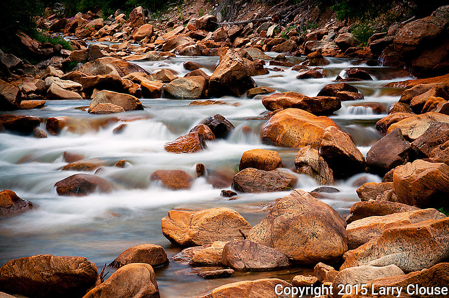 Soft cascades along the North Fork of Lake Creek near Mount Elbert and Buena Vista, Colorado.