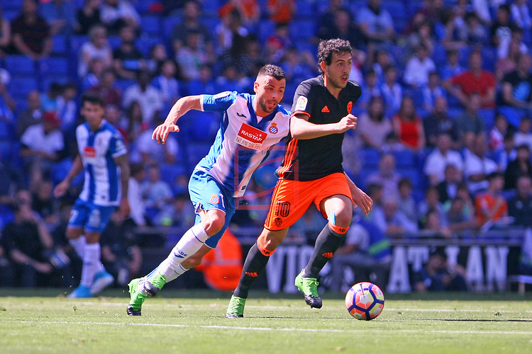 League Santander 2016/2017. Game: 37.<br /> RCD Espanyol vs Valencia CF: 0-1.<br /> Javi Fuego vs Daniel Parejo.