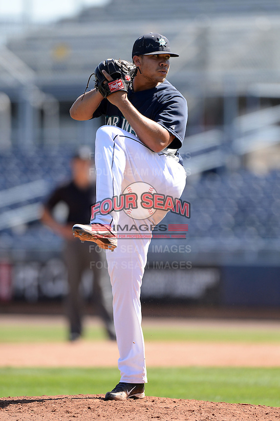 Seattle Mariners pitcher Ricky Claudio (49) during an Instructional League game on October 4, 2013 at Peoria Stadium in Peoria, Arizona.  (Mike Janes/Four Seam Images)