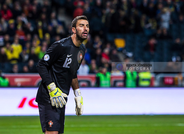 Solna 2013-11-19 Fotboll VM-kval Playoff , Sverige - Portugal :  <br /> Portugal m&aring;lvakt goalkeeper Rui Patr&iacute;cio <br /> (Photo: Kenta J&ouml;nsson) Keywords:  Sweden Portugal portr&auml;tt portrait