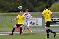 Phoenix&rsquo; Jake Williams and Team Wellington&rsquo;s Dalton Wilkins in action during the National Youth League - Phoenix Youth v Team Wellington Youth at Petone Memorial Park, Lower Hutt, New Zealand on Saturday 29 October 2016.<br /> Photo by Masanori Udagawa. <br /> www.photowellington.photoshelter.com.