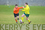 Park FC's Ryan Carroll clips the ball past Kingdom Boys' outstanding midfielder Gerard O'Sullivan in their U/12 Premier clash at Cahermoneen.   Copyright Kerry's Eye 2008