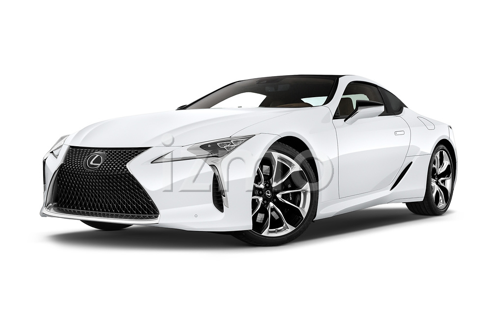 Stock pictures of low aggressive front three quarter view of a 2018 Lexus LC 500 Sport Plus 2 Door Coupe