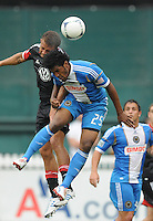 Philadelphia Union defender Sheanon Williams (25) heads the ball from D.C. United midfielder Nick DeLeon (18) D.C. United tied The Philadelphia Union 1-1 at RFK Stadium, Saturday August 19, 2012.