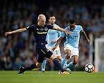 Davy Klaassen of Everton tackles Raheem Sterling of Manchester City during the Premier League match at the Eithad Stadium, Manchester. Picture date 21st August 2017. Picture credit should read: Simon Bellis/Sportimage
