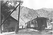 Passenger train at depot.<br /> D&amp;RGW  Cimarron, CO