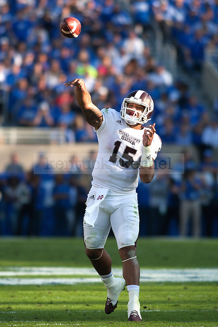 Quarterback Dak Prescott of the Mississippi State Bulldogs passes during the first half of the game against the Kentucky Wildcats at Commonwealth Stadium on Saturday, October 25, 2014 in Lexington, Ky. Mississippi State defeated Kentucky 45-31. Photo by Michael Reaves | Staff