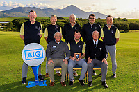 The Portumna team, Provincial Runners-Up during the Final of the AIG Senior Cup in the AIG Cups & Shields Connacht Finals 2019 in Westport Golf Club, Westport, Co. Mayo on Sunday 11th August 2019.<br /> <br /> Back Row: James McLoughlin, Adrian Hogan, Gerard Lynch, Billy McGarry and Michael Flanagan.<br /> Front Row: Brendan McKenna (Sponsor: AIG), Damien Burke (Team Captain) and Jimmy Duggin (Hon. Secretary Connacht Branch).<br /> <br /> Picture:  Thos Caffrey / www.golffile.ie<br /> <br /> All photos usage must carry mandatory copyright credit (© Golffile | Thos Caffrey)