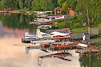 Float planes parked in upscale neighborhood outside Anchorage, Alaska