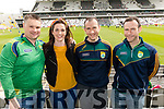 Micheál O'Neill  and Treasa O'Neill (Fossa) with Padraig Foley and Tomás Foley (Cromane), pictured at the Kerry v Cork Munster Final held at Páirc Uí Chaoimh, Cork, on Saturday evening last.