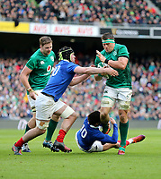 Sunday10th March 2019 | Ireland vs France<br /> <br /> CJ Stander is tackled by Romain Ntamack during the Guinness 6 Nations clash between Ireland and France at the Aviva Stadium, Lansdowne Road, Dublin, Ireland. Photo by John Dickson / DICKSONDIGITAL