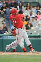 Harrisburg Senators infielder Jason Martinson (11) during the game against the Trenton Thunder at ARM & HAMMER Park on May 21, 2014 in Trenton, New Jersey.  Harrisburg defeated Trenton 9-0.  (Tomasso DeRosa/Four Seam Images)