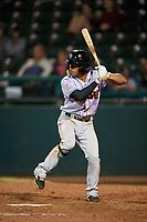 Jupiter Hammerheads third baseman Rodrigo Ayarza (6) at bat during a game against the Daytona Tortugas on April 13, 2018 at Jackie Robinson Ballpark in Daytona Beach, Florida.  Daytona defeated Jupiter 9-3.  (Mike Janes/Four Seam Images)