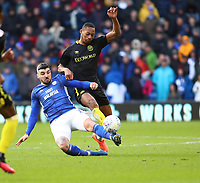 29th February 2020; Cardiff City Stadium, Cardiff, Glamorgan, Wales; English Championship Football, Cardiff City versus Brentford; Callum Paterson of Cardiff City and Ethan Pinnock of Brentford challenge for the ball
