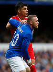 Everton's Wayne Rooney (R) in action with Sevilla's Joaquin Correa during the pre season friendly match at Goodison Park Stadium, Liverpool. Picture date 6th August 2017. Picture credit should read: Paul Thomas/Sportimage